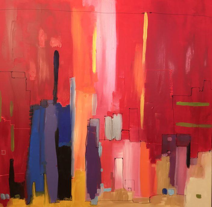 Peinture sur toile Acrylique et pastels 100 x 100 cm